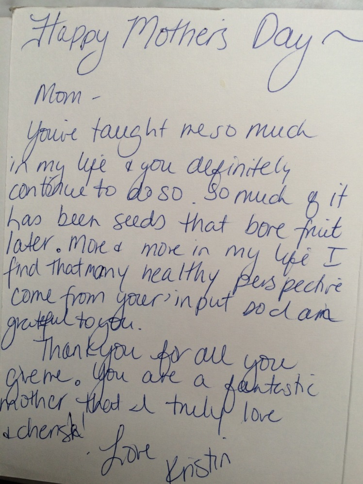 A daughter's Mother's Day note.