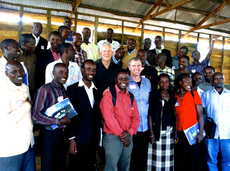 Dr. Linus Morris and Phil Graf pictured with trainees at a GTN conference in Rukungiri, Uganda.