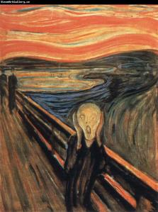 The Scream: that ghoulish figure on a bridge, shrieking silently, the sky and sea a queasy mess.
